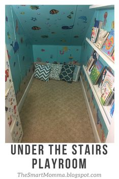 We have a small storage room under the stairs that we did not know what to do with. Originally we put a small desk in there with a c. Under Stairs Playroom, Under Stairs Playhouse, Closet Under Stairs, Space Under Stairs, Small Playroom, Under Stairs Cupboard, Playroom Design, Playroom Closet, Playroom Organization