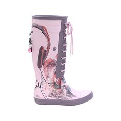 Diesel Printed Rainboots found on Polyvore featuring polyvore, women's fashion, shoes, boots, boots - knee/calf, botas, wellies boots, lace-up boots, laced boots and print rain boots