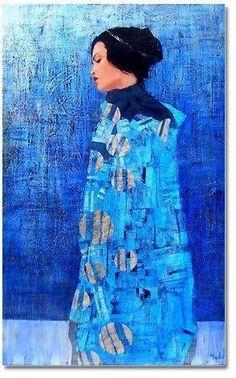 by artist Richard Burlet was born in France in He is influenced by Austrian symbolist painter Gustav Klimt and Art Nouveau. Gustav Klimt, Klimt Art, Figure Painting, Painting & Drawing, Richard Burlet, Blue Art, Portrait Art, Figurative Art, Mixed Media Art