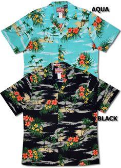 24e3de280 My Little Grass Shack Men's Hawaiian Shirt created in Black, Aqua and Navy  Blue.