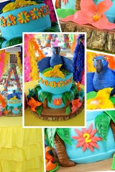 rio birthday ruffle table skirt tropical cake- could use McDs toys for topper Rio Birthday Cake, Rio Birthday Parties, 4th Birthday, Birthday Ideas, Birthday Stuff, Rio Party, Party Themes, Party Ideas, Baby Bash