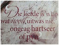 Die liefde is 'n lap wat nooit uitwas nie, ongeag hartseer of pyn. Love Quotes, Inspirational Quotes, Motivational, Beautiful Verses, Afrikaans Quotes, True Colors, Things To Think About, Qoutes, Poems