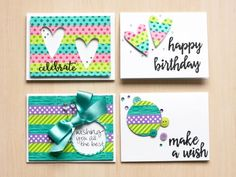 Birthday card created using positive and negative cuts from washi tape by Stacy Cohen for SCT Magazine