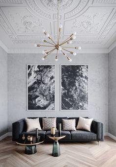 Living Room Color Schemes, Living Room Designs, Living Room Decor, Colour Schemes, Living Rooms, Apartment Living, Art Deco Interior Living Room, Studio Apartment, Living Area