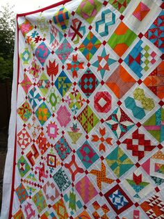 Farmer's Wife quilt top, bright and colorful, at purple poppy designs