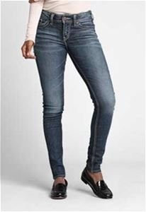 "46cd4346274 Images of Silver Jeans 31"" Elyse Mid Rise Skinny Jeans for Women in Dark  Wash"