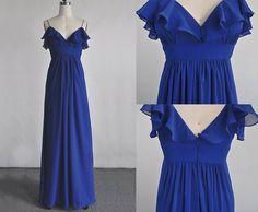 blue prom dress chiffon prom dress fashion blue by sposadress, $119.00