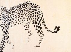 Leopardi. Maalattu loimukoivu-viilulle.