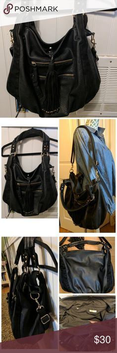 Ecote vegan leather hobo purse Cute black purse from Urban outfitters, lots of room inside, removable shoulder strap, great shape , large tassel with studs Urban Outfitters Bags Hobos