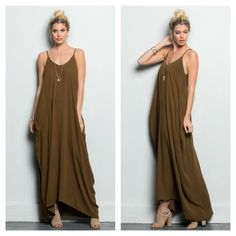 Camel side pocket dress Trendy spaghetti strap dress that's light and flowy. Pretty camel brown color. 100% rayon.       Also available in S. I bundle discount on two or more items Boutique Dresses Maxi