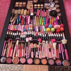 Make up heaven #makeupcollection #makeup #collection #lipsticks #mascara #blushes #highlighter #bronzer #makeupbrushes #brushes #eyeliner #macmakeup #nakedpalette #concealer #foundation #chapstick #babylipbalm #lipbalm #eos