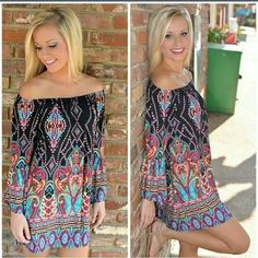 """NEW Off Shoulder Bohemian Beach Dress XL NEW Off Shoulder Bohemian Beach Dress XL. Measures 29"""" from neckline to bottom of hem, hips measure 19"""" across lying flat. It does have a little stretch.  Last pic is actual item. Dresses Mini"""
