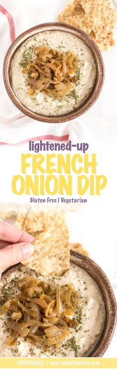 Lightened-Up French Onion Dip is the ultimate in party dips. Sweet, caramelized onions blended with a tangy and creamy greek yogurt base is sure to be a hit when served with chips or veggies.