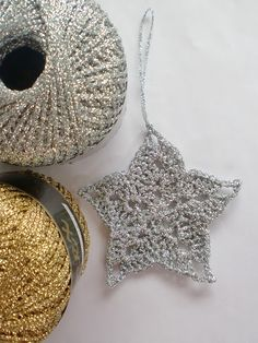 crocheted stars and snowflakes from sparkly yarn!