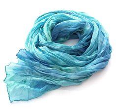 Aqua  hand dyed, crinkle silk scarf in Blue tone by HEraMade on Etsy,  #aqua #crinklescarf #silkscarf #dyedscarf