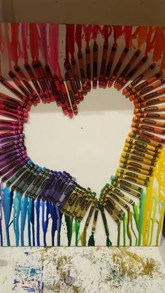 Heart shaped melted crayon canvas art I made