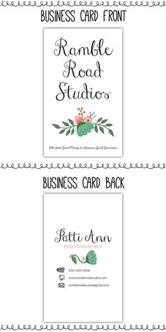 Premade Business Card or Calling Card Design with Florals by RambleRoadStudios