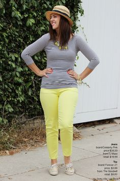 yellow pants with striped shirt -- casual black and gold Friday outfit worn with my black Keds