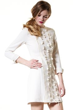 Bloom N Burst Lace Inset Dress Discover the latest fashion trends online at storets.com #Jacket Dress  #Off-the-shoulder Shirt Dress  #Short Sleeve Dress