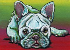 ACEO ATC Rainbow French Bulldog Pet Dog Art Original Miniature Painting-C.Smale #Realism