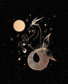 Capricorn Tattoo, Capricorn And Aquarius, Capricorn Aesthetic, Cute Little Drawings, Illustration, Lunar Eclipse, Witch Art, Zodiac Art, Drawing Practice
