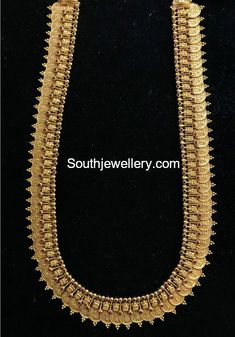 22 Carat gold antique Lakshmi kasu haram studded with rubies by Omprakash Jewellers and Pearls. 1 Gram Gold Jewellery, Gold Temple Jewellery, Gold Wedding Jewelry, Gold Jewellery Design, Bridal Jewelry, Antic Jewellery, Gold Jewelry, India Jewelry, Jewelery