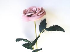 Pink Leather Rose, Wedding 3rd Anniversary Gift Long Stem Flower Valentines Day