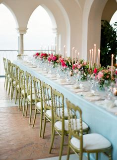TAPER CANDLES LONG WEDDING PARTY TABLE