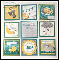 Baby Framed Sampler #stampinup -  Zoo Babies, Something About Baby, Hello Life, Celebrate Today, Teeny Tiny Sentiments - Ann Lewis@Ann's PaperWorks (Australia)