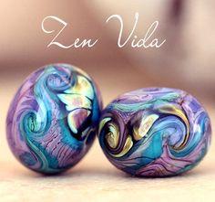 Feeling swirly purple blue and raku, #lampwork #beads to the rescue =-)