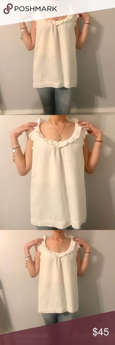 Kate spade  top Kate spade white top with keyhole back and ruffled top kate spade Tops Blouses