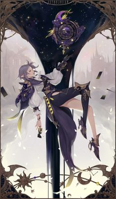 Final Fantasy XIV Fan art, < Astrologian >, bom Yeon on ArtStation at https://www.artstation.com/artwork/B05nA