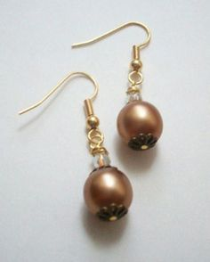 Crystal and Gold Pearl Dangle Earrings with Copper