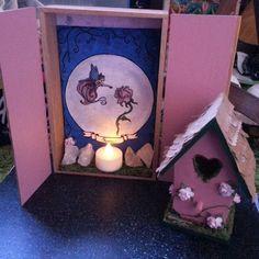 Rose Fairy altar in the works #smashandcreate #lindseygeigerart #littlehouses #altar #roses #tracingandcollageart #moon #witchesofinstagram #glitter