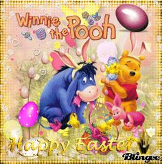 Eeyore Pictures, Winnie The Pooh Pictures, Winnie The Pooh Quotes, Winnie The Pooh Friends, Easter Pictures, Tigger And Pooh, Pooh Bear, Happy Easter Gif, Ior