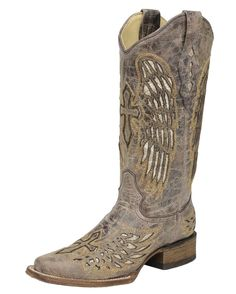 "<p class=""MsoNoSpacing"">Stunningly gorgeous, these women's boots have been handcrafted in eye-catching distressed brown leather, giving that aged appearance look, and showcases wing & cross stitching with laser cut inlays filling the wings.</p><p class=""MsoNoSpacing"">Soft lining and cushioned insoles bring much comfort for long wear. Pull tabs and dip openings at the top makes it easier for pulling on. Square toes, leather outsoles, and walking heels, with grip inserts, give off that true…"