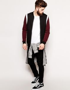 Image 4 ofASOS Bomber In Jersey With Cut & Sew Panels