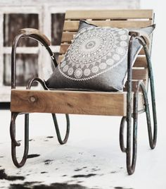 Upcycled chair ... love this. Maybe use an old chair frame and pallets