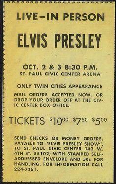 1974 Elvis Presley Newspaper Concert AD by rockinred1969, via Flickr