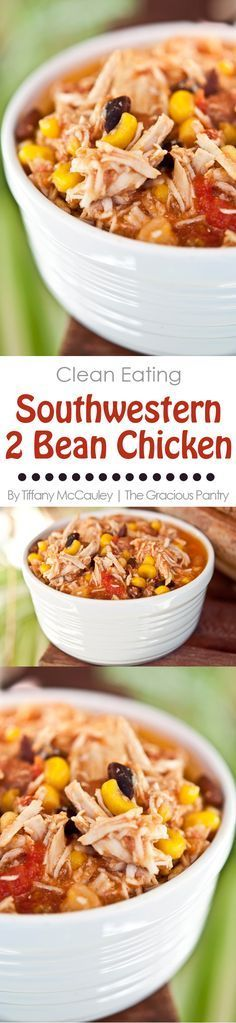 This Clean Eating Slow Cooker Southwestern 2 Bean Chicken is my most popular recipe ever. Everyone loves it! If you've got picky eaters, give it a try!