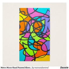 Metro Moon Head Turning Business Cards With Hand Painted Abstract Art In Bold Neon Colors