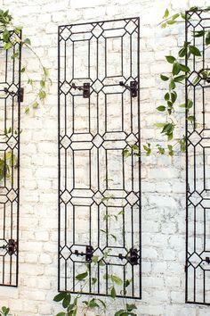 Wall Art Large Diamond Trellis with Brackets Metal Garden Wrought Iron Outdoor Wall Decor by H Potter Yard Art Garden Gift Outdoor Wall Art, Outdoor Walls, Outdoor Decor, Outdoor Wall Decorations, Outside Wall Decor, Patio Wall Decor, Garden Decorations, Wall Decor Design, Wall Art Designs