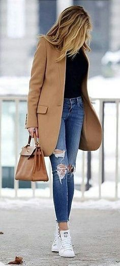 Camel Coat / Black Knit / Ripped & Destroyed Skinny Jeans / White Sneakers