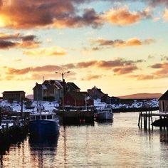 Winter sunset in Peggy's Cove, Nova Scotia