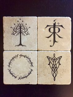 Lord of the Rings Coasters  Set of 4 by SirenStormStudios on Etsy