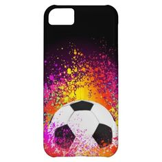 Neon Soccer Ball with Black Background iPhone 5C Cover