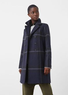 Check wool-blend coat - Coats for Women