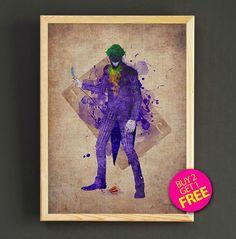 Batman Joker Watercolor Art Print Comic Superhero Poster House Wear Wall Decor Gift Linen Print - Batman - Buy 2 Get 1 FREE - 57s2g