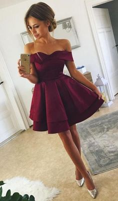 off the shoulder homecoming dress,Stain Homecoming Dress,Cheap Prom