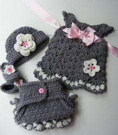 Crochet Vintage Inspired Baby Set Crochet Baby by PatternsByKrissy
